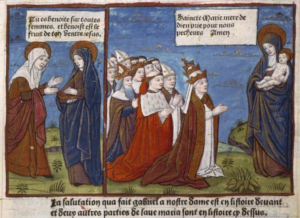 Angers, BM, SA 3390, f. 039. Fin XVe s. La chrétienté priant la Vierge à l'Enfant
