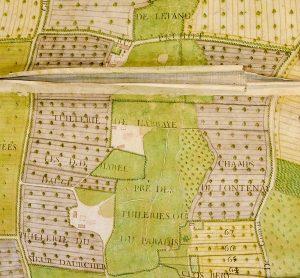 Fig. 2 : Plan de l'abbaye de Barbery et de la paroisse de 1783. Extrait du secteur des tuileries, Arch. dép. Calvados. H 1381/2.
