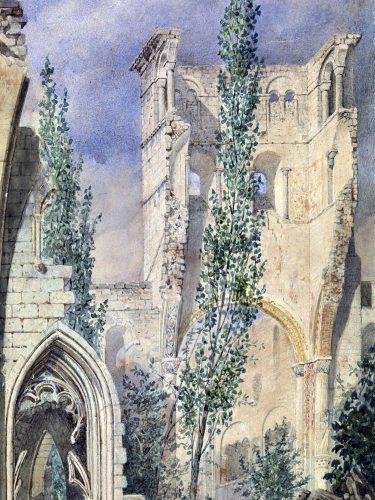 Fig.5 La tour de Notre-Dame d'après J. Jollivet, 1847 (cl. Y. Deslandes, Musée départemental des Antiquités).
