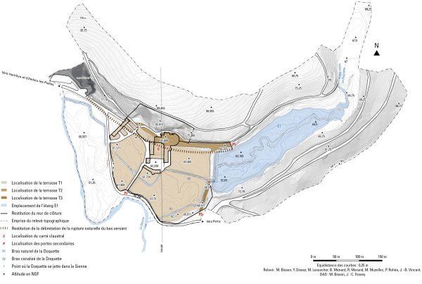 Visualisation des aménagements paysagés nécessaires pour l'édification de l'abbaye d'Hambye (Manche). Responsable de l'étude topographique M. Bisson et J.-B. Vincent.