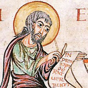 Enluminure de l'évangile carolingien de sainte Croix de Gannat