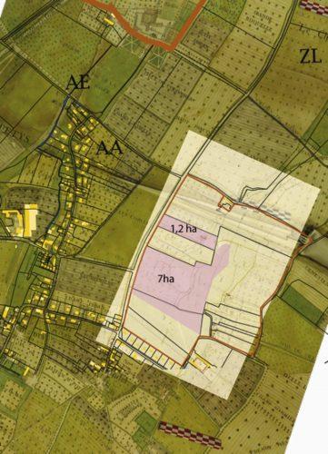 Fig. 4 : Superposition du plan géométrique de 1783, du cadastre napoléonien et du cadastre actuel avec la délimitation précise des secteurs à prospecter.