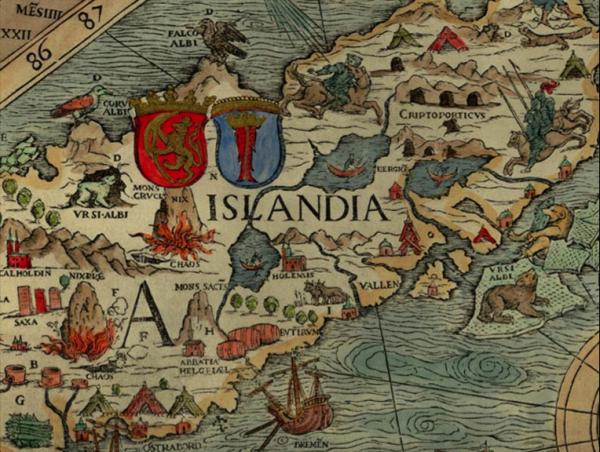 Carte de l'Islande avec animaux sauvages. Olaus Magnus. Carta marina, 1539
