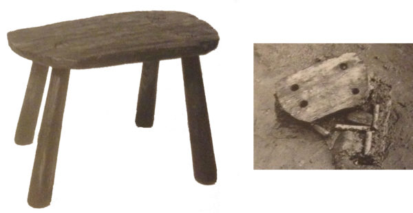 Tabouret, Haithabu (Schleswig-Holstein), IXe siècle (cl. K. Schietzel et Fl. Westphal)
