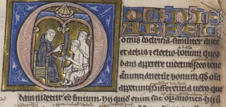 Fig. 7 : Initiale O, f. 1 (Avranches BM, ms. 222)