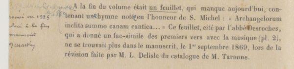 Catalogue général des manuscrits (Omont 1889, p. 44) annoté par Martin