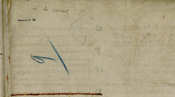 Marques de classement et mention ms de Caumont. Avranches, ms 98, f. 228r